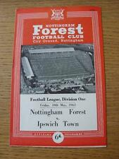 10/05/1963 Nottingham Forest v Ipswich Town  (Small Number Noted On Cover)