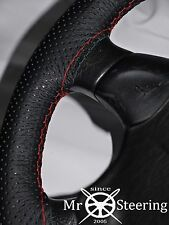 FOR VOLVO V70 00-07 PERFORATED LEATHER STEERING WHEEL COVER RED DOUBLE STITCHING