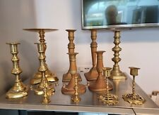 More details for antique job lot of 12 brass candlestick holders (5 pairs +2) candelabra 4.2kg