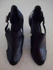 "Brand New LISA HO  ""Winter Heal"" Black Leather Peep Toe Heels - Size 40 - $490"