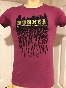 Dicks Pittsburgh Marathon Runner Women's T-shirt Purple Small Asics