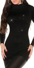SeXy Damen Long Rolli Pulli Pullover 34/36/38 Glamour strass schwarz Rollkragen