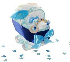 Pampers Windelwagen blau inkl Greifling - Windeltorte mit Name für Junge