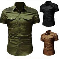 Men's Slim Fit Military Short Sleeve Casual Denim Shirt Work Cargo T-shirts Tops
