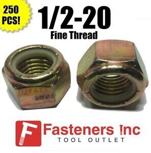 (Qty 250) 1/2-20 Fine Grade 8 Nylon Insert Lock Nuts Nylock Yellow Zinc Plated