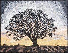 "40"" Handmade Natural Tree Scene Mosaic Marble Landscape Mural Art Stone Decor"