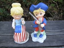 "Patriotic Figurines Betsy Ross Minute Man Pair Children 5"" American 4th of July"