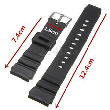 18mm Men Military Black Silicone Rubber Sport Replacement Wrist Watch Band Strap