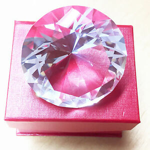 60mm Cut Glass WHITE Crystal Diamond Home Decoration A Nice Gift IN BOX