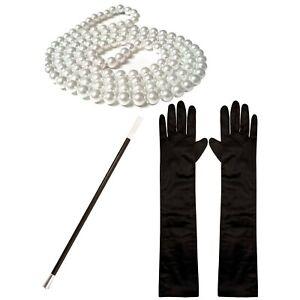 1920s Fancy Dress Charleston Set: Pearl Beads, Cigarette Holder, Black Gloves