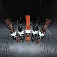 12-24 MM Watch Band Strap Genuine Leather Alligator Deployment Clasp Buckle USA