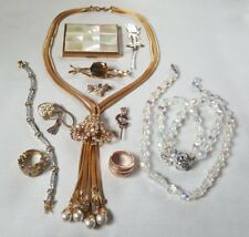High End Vintage Jewelry Lot Crystal Rhinestone Signed Robin Kahn Elgin Compact