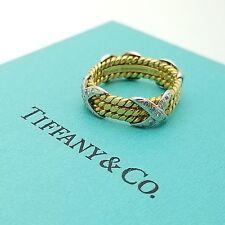Vintage Tiffany & Co 18k Yellow Gold Platinum 3 Row Schlumberger X Diamond Ring