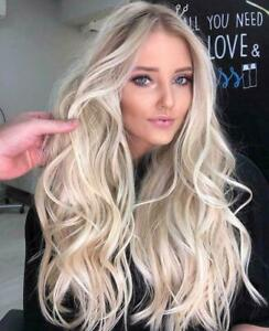 Brazilian Real Human Hair Wigs Balayage Platium Blonde Remy Full Lace Front Wig