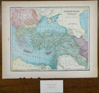 "Vintage 1900 TURKISH EMPIRE Atlas Map 14""x11"" ~ Old Antique Original ANKARA"