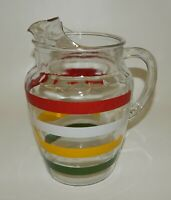 Vintage Anchor Hocking Fiesta Color Striped Glass Pitcher