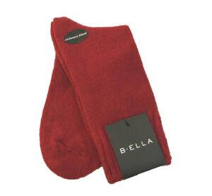 b.ella Ladies Wool Cashmere Angora Blend Crew Socks Este Dark Red - NEW