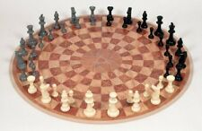 3 Player Chess Set 3-Man Round 19-inch Board Game Play 48-Piece Black Gray Ivory