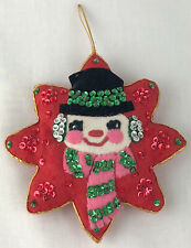 Vintage Handmade Christmas Ornament Felt Sequin Snowman Star Shaped Pink Scarf