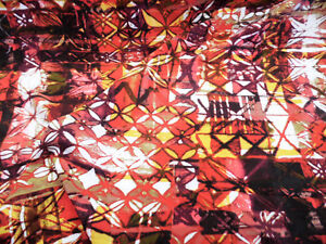 Discount Fabric Challis Rayon Apparel Red Burgundy Orange White Abstract G205