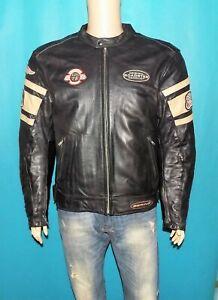 blouson de moto BERING cuir noir et beige avec protections et gilet taille XL