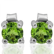 PRETTY 0.6 CARAT PERIDOT ROUND 4MM LIME GREEN STERLING SILVER EAR STUD EARRINGS