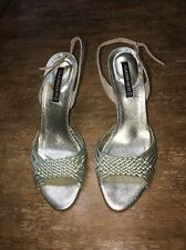 Claudia Ciuti Gold Metallic Gold Leather Strappy High Heel Sandals Size 7.5 EUC