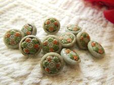 lot 11 mini boutons anciens art deco en verre gris peint  1 cm ref 2578