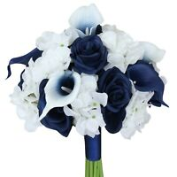 "9"" Beautiful Hand-Tied Wedding Bouquet - Hydrangea, Calla Lily, Roses Pick Color"