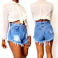Ladies Vintage Ripped High Waisted Stonewash Denim Shorts Jeans Hot Pants FT