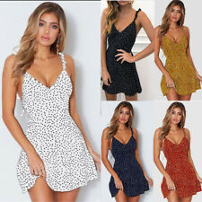 Women Mini Dress Dresses Sundress Polka Dot Sleeveless Camisole Tank Summer UK