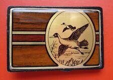 Vintage 1984 Latón Macizo y madera Caza Patos Hebilla De Cinturón