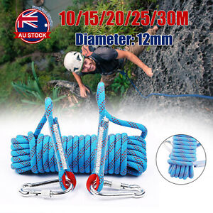 10-30M 12mm Static Rescue Rope Rock Climbing Rappelling Safety Cord Carabiner O