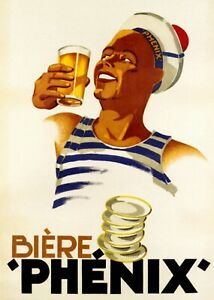 """Biere Phenix 1930 Leon Dupin Art Vintage Poster Printed in France 20"""" x 28"""