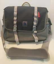 LL Bean Laptop Messenger Travel Bag Canvas Gray
