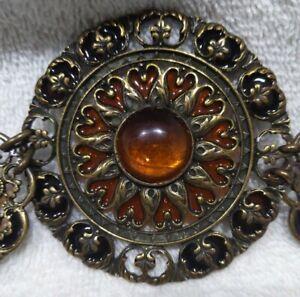Vtg? Bronze/Brass Colored Burnt Orange Medallion Metal Waist Adjustable Belt