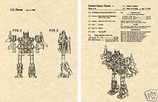 Transformers SUPERION US Patent Art Print READY TO FRAME 1988 Autobot G1 Plane