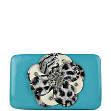 TURQUOISE LEOPARD FLOWER RHINESTONE BLING DISTRESSED BIFOLD FLAT THICK WALLET