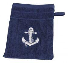 Wash Mitt, Washcloth IN Marine Style, Blue with White Anchor 600 G/M ²