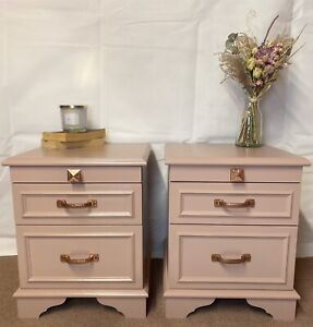 A pair of stag mahogany bedside cabinets in nougat Pink with Rose Gold Hammered