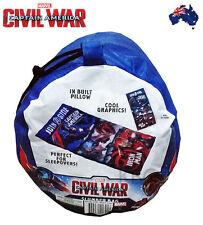 CIVIL WAR CAPTAIN AMERICA Sleeping Bag W/Built in pillow/Sleepovers/Camping