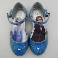 Disney Frozen Elsa Anna Blue Glitter Dress up Heels Ballet Flats Toddler Girls