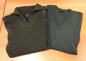 LE CHAMEAU, ROYAL HUNT Moss Green V Neck Hunting Sweaters Mens Size XL
