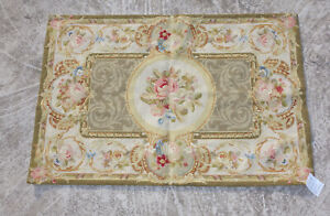 2' X 3' Beautiful Handmade 19th C. Victorian Design Rose Needlepoint Rug