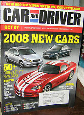 CAR AND DRIVER OCT 2007 NEW CARS 2008,AUDI,VOLVO,TAURUS