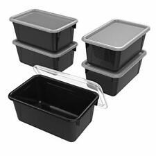 New listing Storex Small Cubby Bin with Cover 12.2 x 7.8 x 5.1 Inches Black 5-Pack 62463U05C
