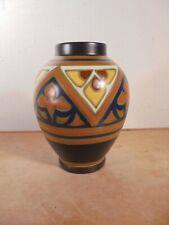 Céramique Vintage 30 Vase Ovoïde décor Cubiste Moderniste GOUDA Holland Signé