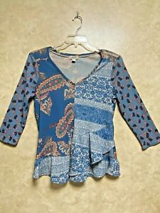 One World Women's Top/Blouse BOHO Layered Top (Size PM)~Multi Color NWOT