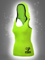 PIMD Women Hooded Vest - Lime Green Cotton Gym Fitness Top Female Ladies Hood