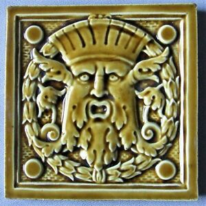 Rare Art Deco Tile French Desvres Nouveau Masceron Green Man Northwind Face